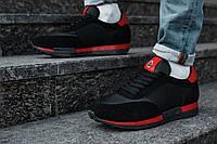 Мужские кроссовки черные с красным Moncler топ-реплика