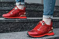 Женские кроссовки красные Philipp Plein топ-реплика