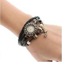 Стильные часы-браслет на кожанном ремешке
