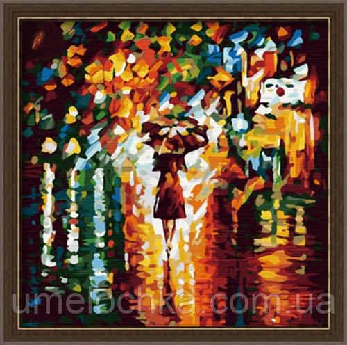 Картина по номерам на холсте Menglei Под зонтом худ. Афремов, Леонид Аркадьевич (MF014) 40 х 40 см