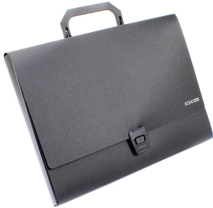 Портфель пластиковый А4 на застежке 1 отделение черный N31607-01