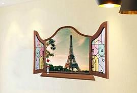 Наклейка виниловая Пейзаж окно в Париж