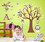 Наклейка виниловая Дерево со зверьками