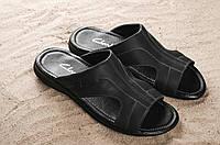 Шлепанцы мужские Yuves Z5 черные (натуральная кожа, лето)