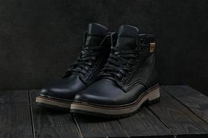 Мужские ботинки кожаные зимние черные Brand Б-25