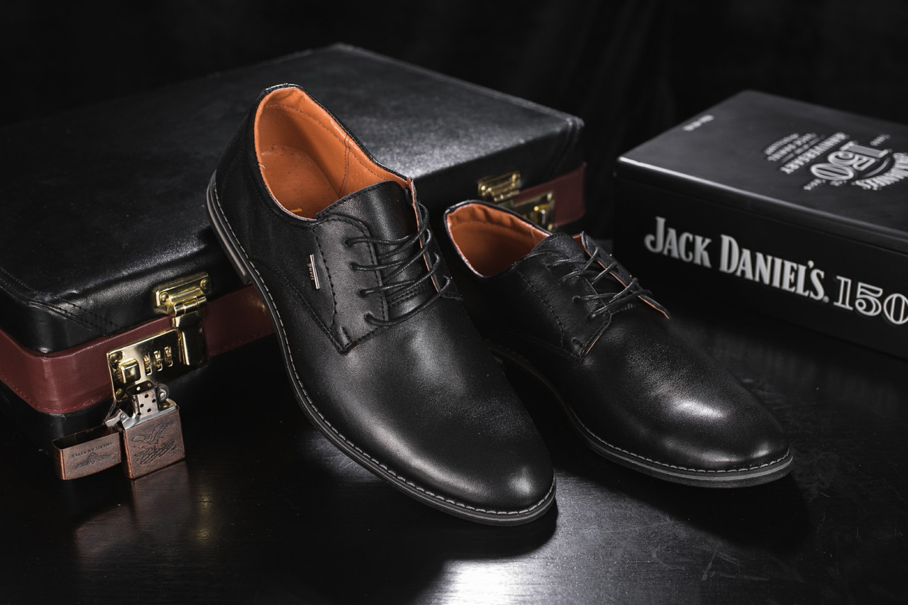 Туфли мужские Yuves М5 (Trade Mark) черные (натуральная кожа, весна/осень)