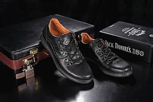 Повседневная обувь мужские Yuves 650 черные (натуральная кожа, весна/осень)