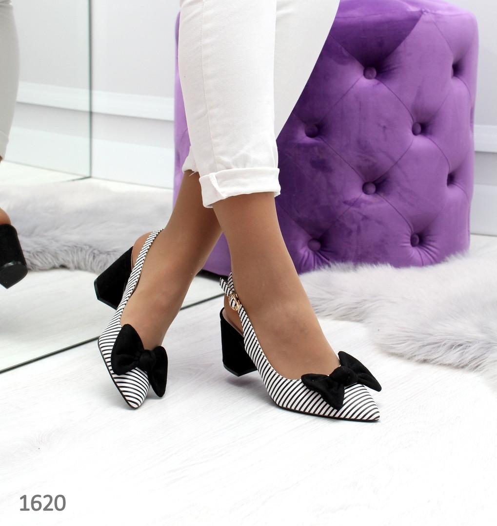 aaabc98ef Стильные женские открытые туфли лодочки с бантом на среднем каблуке черно- белые - VK-