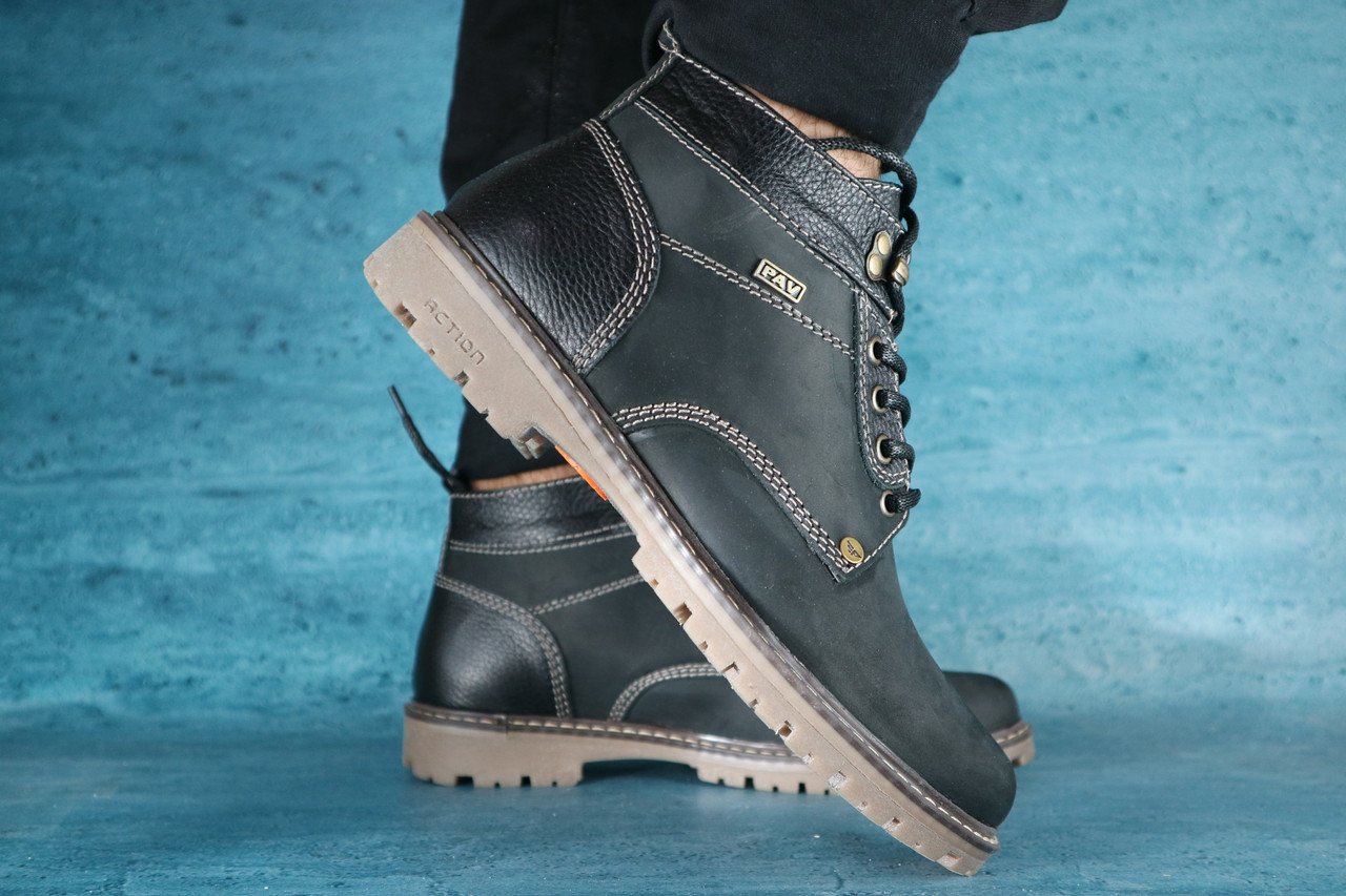 Ботинки мужские Pav 9665 черные (нубук, зима)