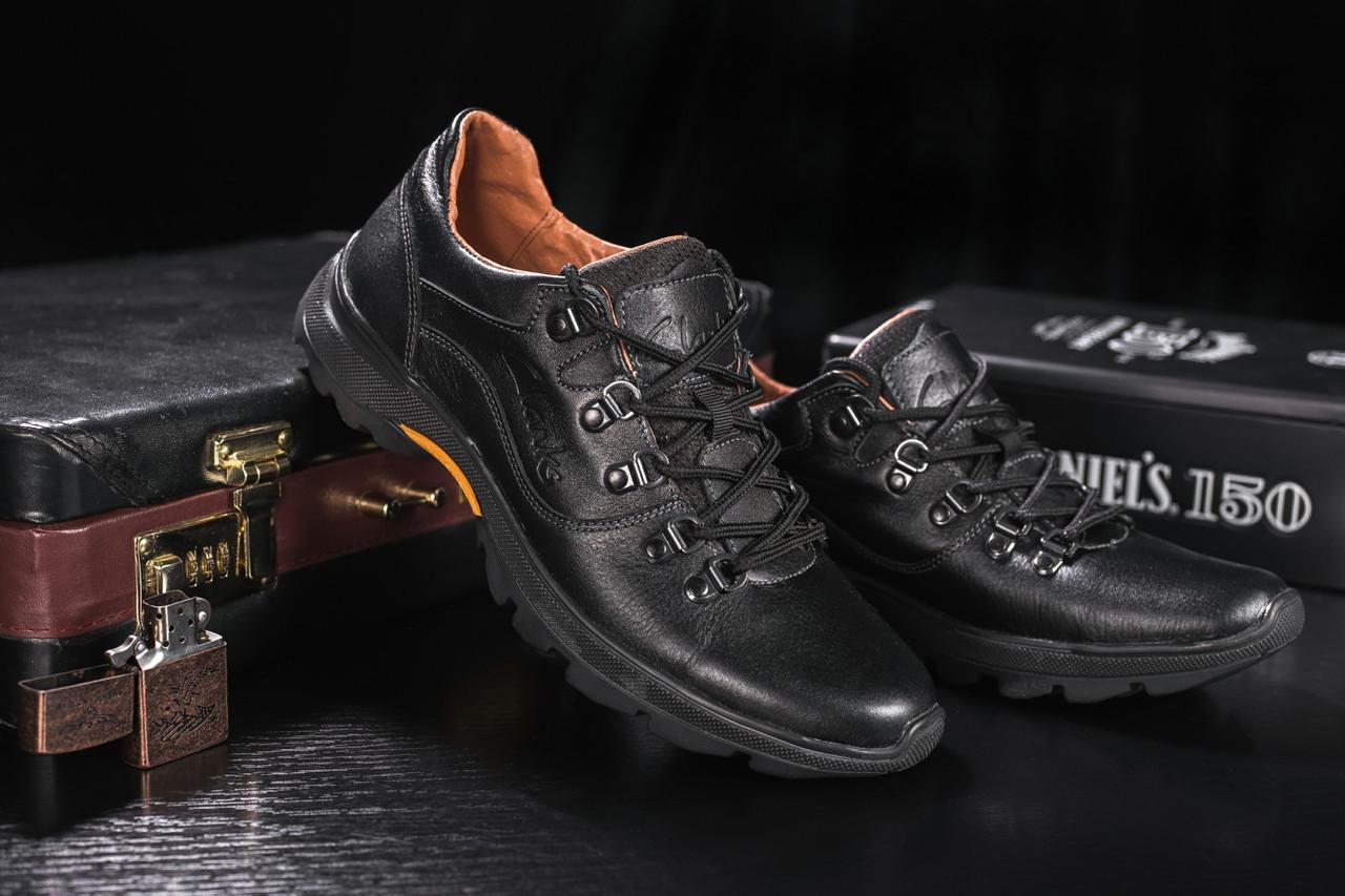 Повседневная обувь мужские Yuves 555 черные (натуральная кожа, весна/осень)