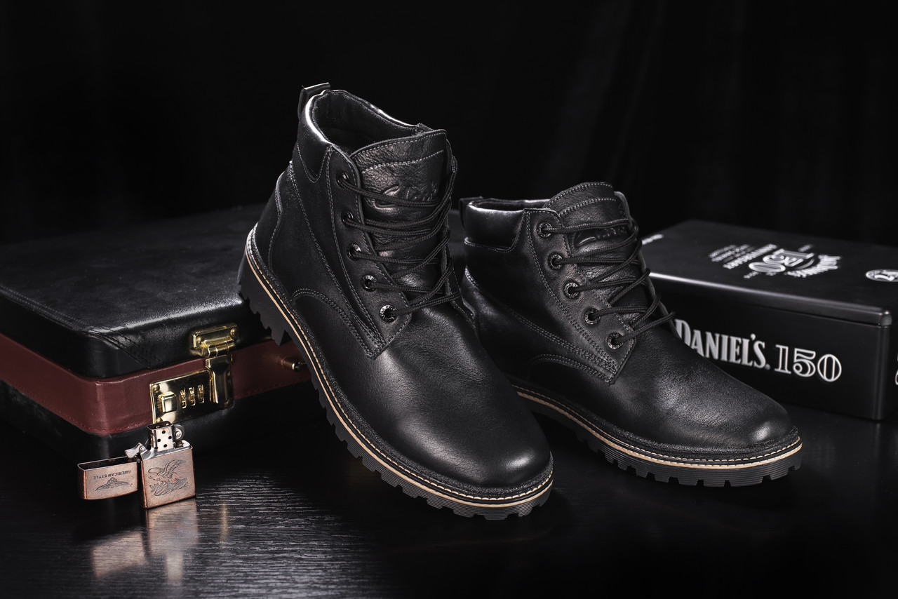 Ботинки мужские Yuves 444 черные (натуральная кожа, зима)