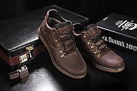 Ботинки мужские Yuves 600 коричневые-матовые (натуральная кожа, зима), фото 1