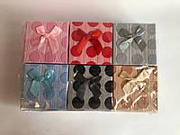 (Цена за 6шт) Подарочные коробочки для бижутерии Rhoicissus форма: квадратные, в горошек и мелкую