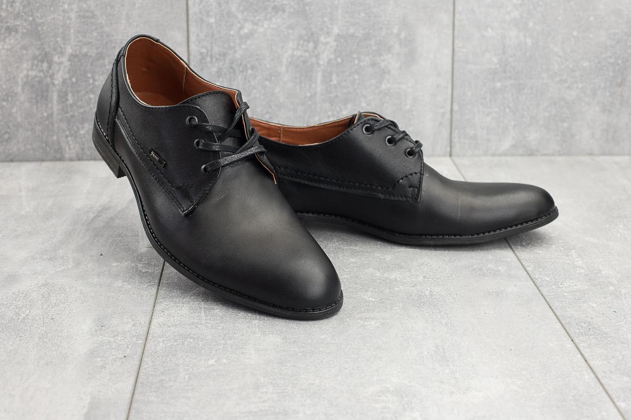 Туфли Yuves М111 (весна/осень, мужские, натуральная кожа, черный)
