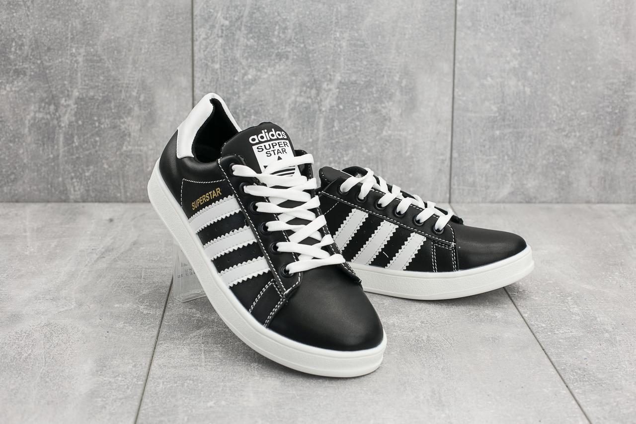 Кеды CrosSAV 112 (Adidas Super Star) (весна/осень, подростковые, натуральная кожа, черный-белый)