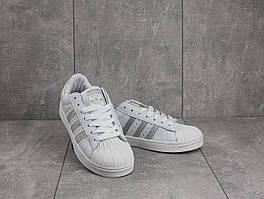 Кеды B 529 -13 (Adidas Superstar) (весна/осень, женские, искусственная кожа, белый)