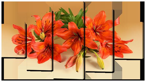 Модульная картина Interno Эко кожа Оранжевые лилии 108х60см (А769S)