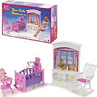 Кукольная мебель Глория Gloria 24022 Детская комната для малыша Барби, кроватка, стульчик для кормления, пупс