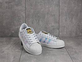 Кеды B 529 -1 (Adidas Superstar) (весна/осень, женские, искусственная кожа, белый)