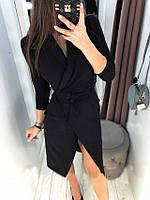 Миди платье на запах черное