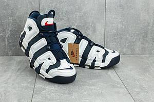 Кроссовки A 8587 -9 (Nike Air More Uptempo) (весна/осень, мужские, искусственная кожа, синий-белый)