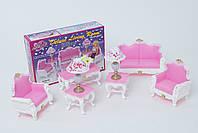 Кукольная мебель Глория Gloria 2317 Гостиная Барби, диван, кресла, лампы, столик, ваза с цветами