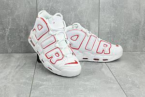 Кроссовки A 8587 -3 (Nike Air More Uptempo) (весна/осень, мужские, искусственная кожа, белый-красный