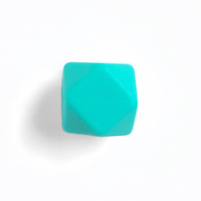 Гексагон 17мм (бирюза), силиконовые бусины