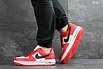 Мужские кроссовки Nike Air Force AF 1 (красно-белые), фото 4
