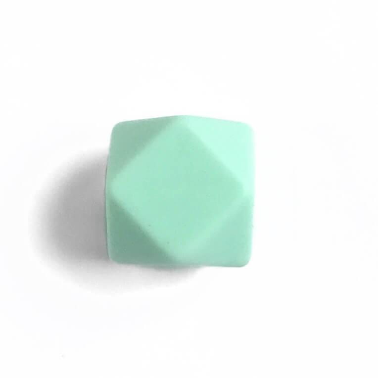 Гексагон 17мм (мята), силиконовые бусины