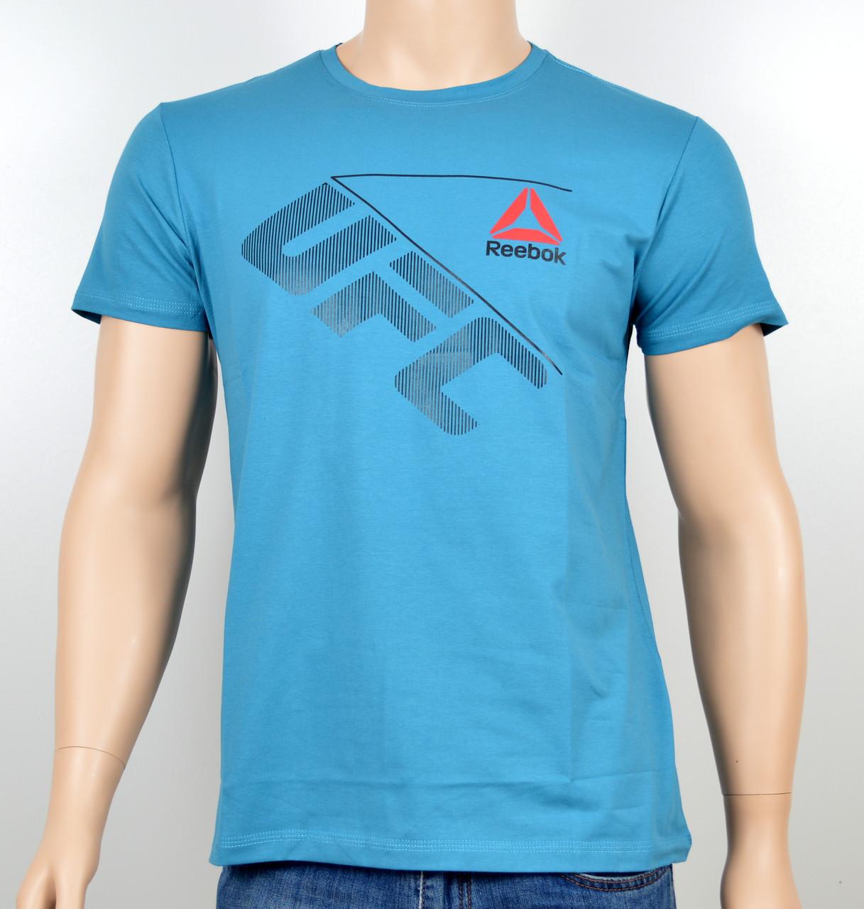 """Мужская футболка """"Reebok UFC"""" R17-03 голубой"""