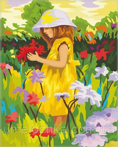Раскраска по номерам Идейка Алиса с цветами (KH022) 40 х 50 см