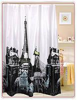Шторка для душа ванной Эйфелева башня, фото 1