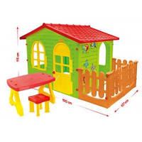 Домик садовый детский игровой большой XXL + заборчик +столик + стульчик для квартиры и для дачи
