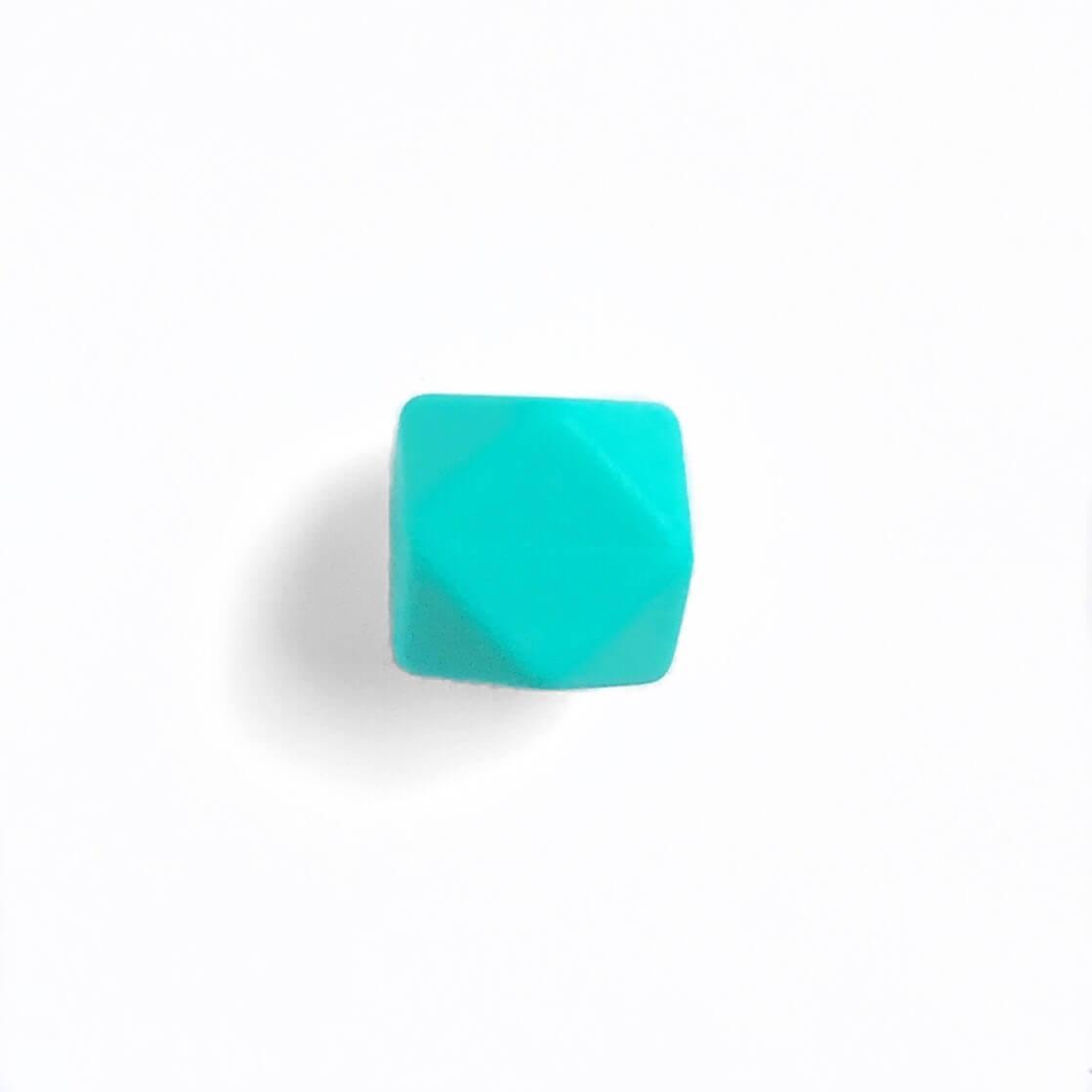 МИНИ гексагон (бирюза) 14мм, силиконовая бусина