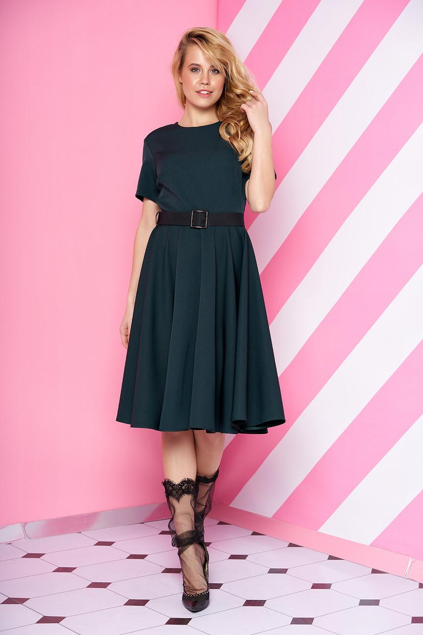Женское платье миди юбка солнце клеш с поясом рукав три четверти зеленое