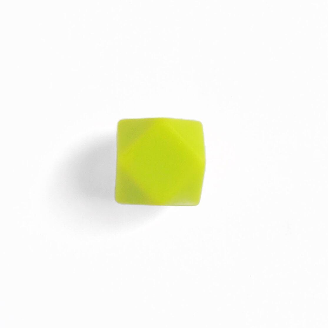 МИНИ гексагон (салатовый) 14мм, силиконовая бусина