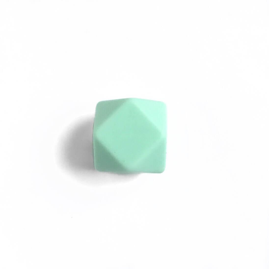 МИНИ гексагон (мята) 14мм, силиконовая бусина