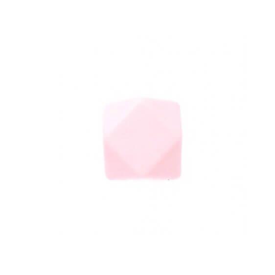 МИНИ гексагон (роза кварц) 14мм, силиконовая бусина