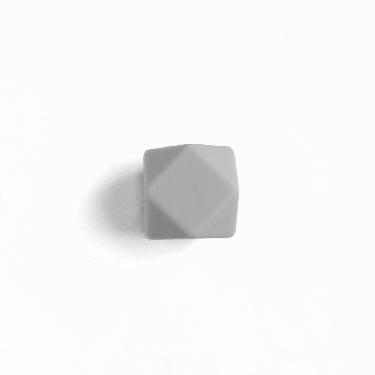МИНИ гексагон (светло серый) 14мм, силиконовая бусина