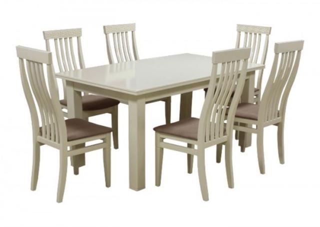 Комплект стол и стулья Маджента слоновая кость, ткань коричневая