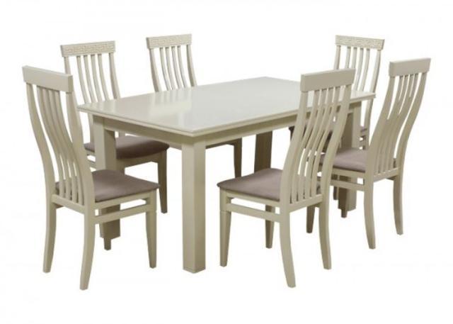 Комплект стол и стулья Маджента слоновая кость, ткань серая