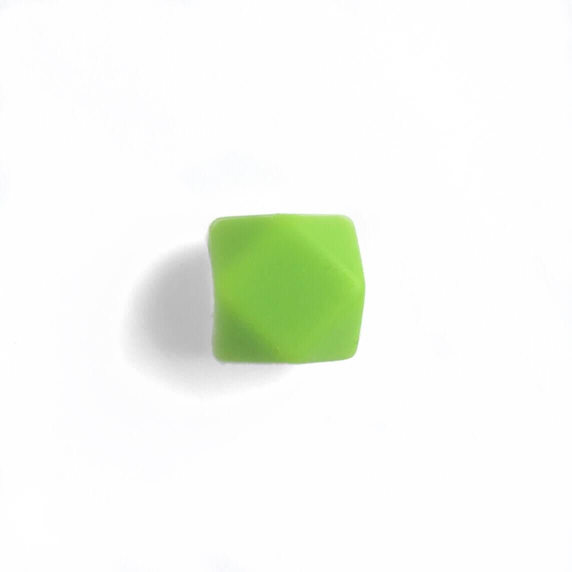 МИНИ гексагон (зеленый) 14мм, силиконовая бусина