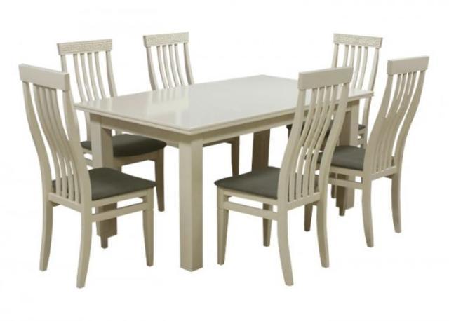 Комплект стол и стулья Маджента слоновая кость, ткань темно-серая