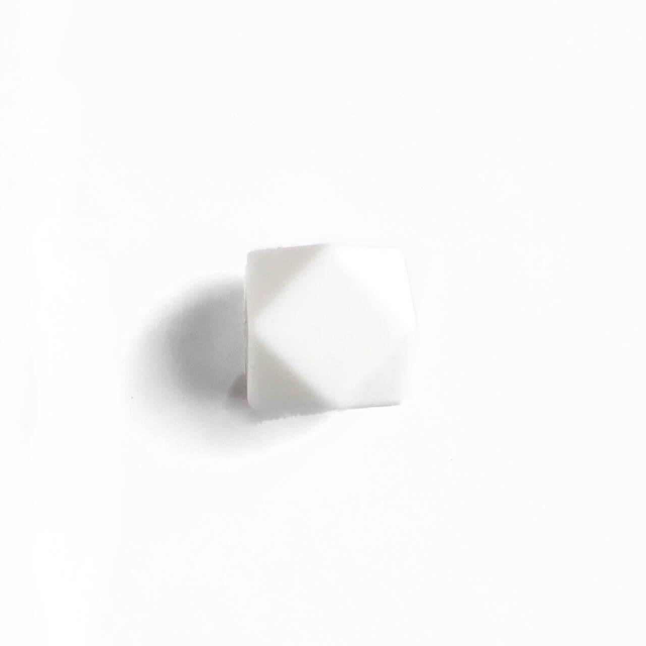 МИНИ гексагон (белый) 14мм, силиконовая бусина