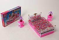 Детская мебель для кукол Gloria 99001 Спальня Барби, кровать, светящиеся лампы, тумбочки
