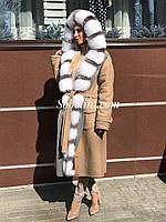 Парка-пальто кашемировое с мехом песца-альбиноса и чернобуркой