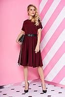 Модное платье миди юбка солнце клеш с поясом рукав короткий бордового цвета