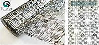 Прозрачная скатерть с лазерным рисунком  ПВХ + жидкое стекло, толщина 1 мм, ширина 60 см (На метраж)