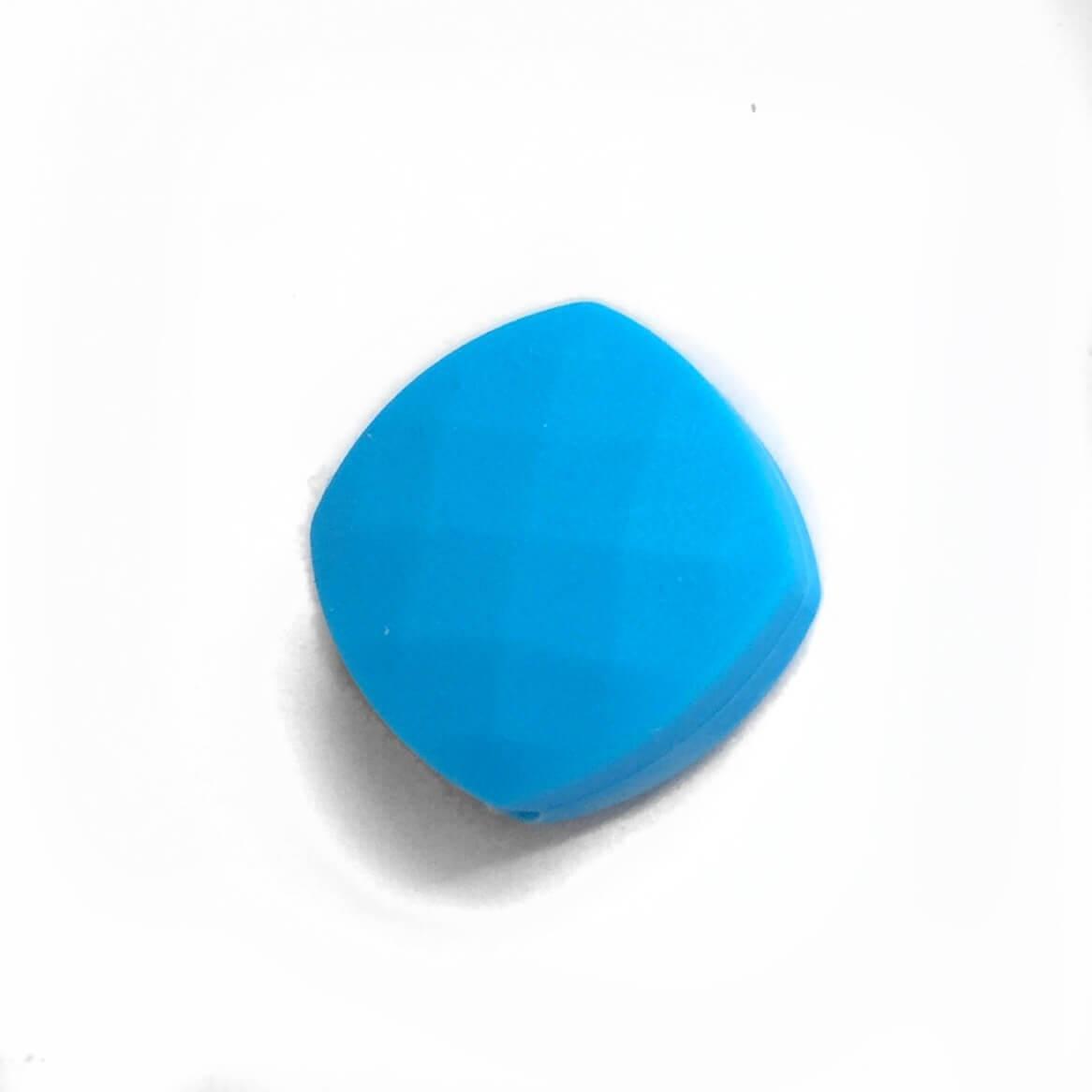 Ромб плоский (голубой) силиконовые бусины
